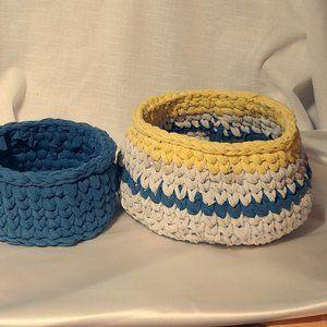 Crocheted Boho Style Storage Baskets - Set of 2